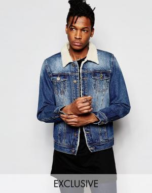 Liquor & Poker Джинсовая куртка цвета индиго с воротником борг. Цвет: синий