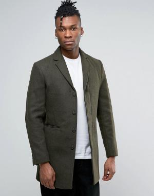 Selected Пальто с добавлением шерсти. Цвет: зеленый