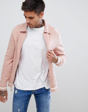 ASOS Розовая куртка Харрингтон с белой отделкой DESIGN. Цвет: розовый