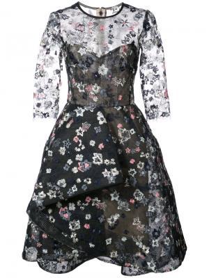 Вышитое платье Illusion Monique Lhuillier. Цвет: чёрный