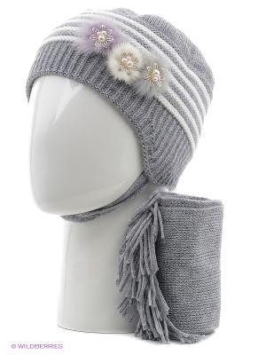 Шапка, шарф Tricotier. Цвет: серый, белый