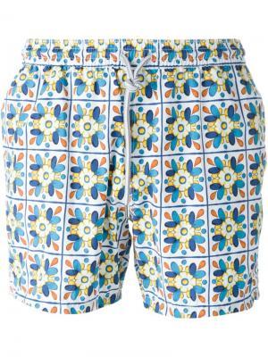 Плавательные шорты с орнаментом Capricode. Цвет: синий