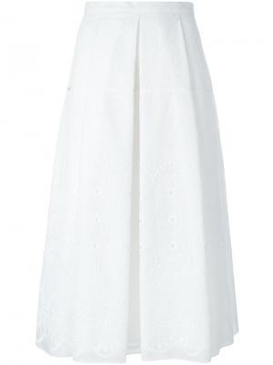 Юбка со складками и вышивкой Nº21. Цвет: белый