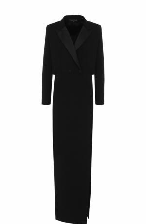 Приталенное платье-макси с высоким разрезом Alexander Terekhov. Цвет: черный
