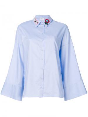 Рубашка с расклешенными рукавами и вышивкой на воротнике Dondup. Цвет: синий