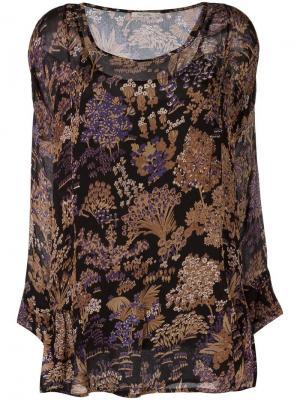 Блузка с цветочным принтом Mes Demoiselles. Цвет: чёрный