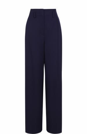 Шерстяные расклешенные брюки Lanvin. Цвет: темно-синий