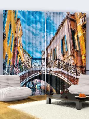 Комплект фотоштор Путешествие в Венецию, жёлтые дома, мост над каналом, голубое небо, 290*265 см Magic Lady. Цвет: голубой, красный, оранжевый, черный, коричневый