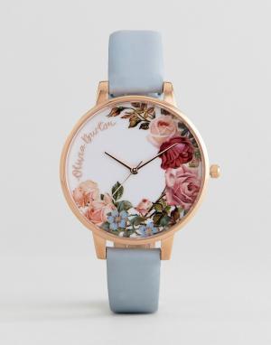 Olivia Burton Часы цвета розового золота OB16ER06 English Garden. Цвет: синий