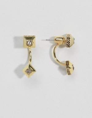 House of Harlow Серьги-подвески с двумя камнями. Цвет: золотой
