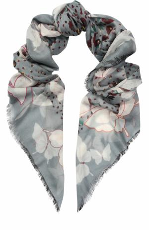 Шаль из кашемира и шелка с принтом Valentino. Цвет: светло-голубой