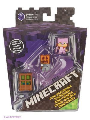 Набор из 3х фигурок персонажей Minecraft MATTEL GAMES. Цвет: фиолетовый, оранжевый