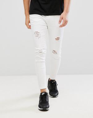 Aces Couture Белые обтягивающие джинсы. Цвет: белый