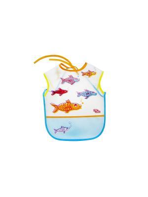 Слюнявчик клеенчатый на завязках и с карманом ПОМА. Цвет: голубой