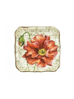 Набор из 4-х тарелок десертных 21,5 см Парижские маки Certified International. Цвет: темно-красный, бежевый, малиновый
