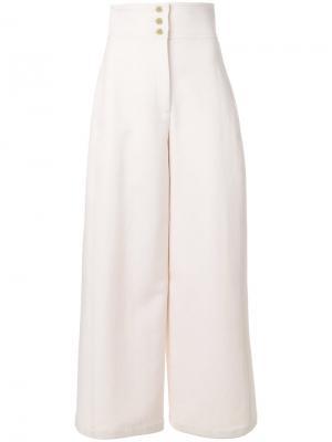 Расклешенные классические брюки Maison Rabih Kayrouz. Цвет: розовый и фиолетовый