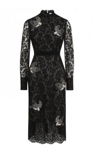 Приталенное кружевное платье-миди Erdem. Цвет: черно-белый