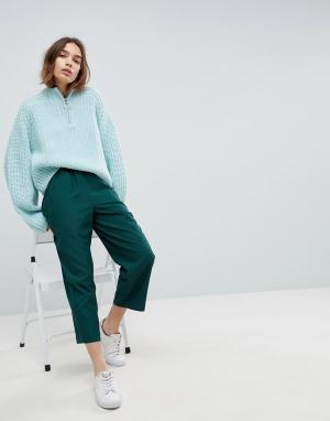 Weekday Укороченные широкие брюки. Цвет: зеленый