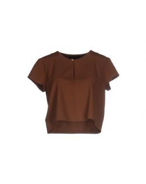 Блузка TRY ME. Цвет: коричневый
