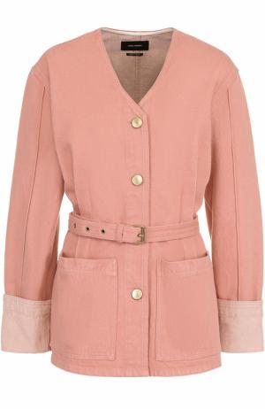 Джинсовый жакет с поясом и накладными карманами Isabel Marant. Цвет: розовый