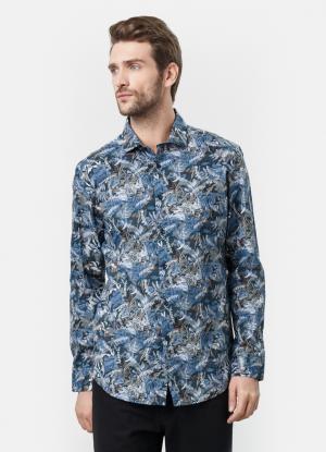 Рубашка с флоральным принтом OSTIN. Цвет: глубокий синий