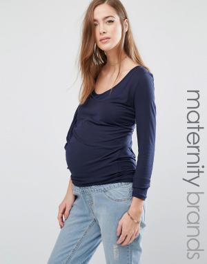 Mama.licious Футболка для беременных с драпированным передом Mamalicious. Цвет: темно-синий