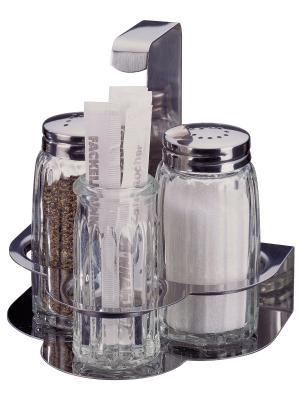 Набор диспенсеров для соли/перца в подставке с зубочистками Fackelmann. Цвет: серебристый, прозрачный