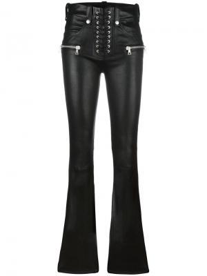 Расклешенные кожаные брюки Unravel Project. Цвет: чёрный
