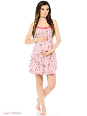 Ночная сорочка для беременных и кормящих FEST. Цвет: розовый, коралловый