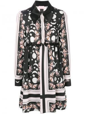 Платье-рубашка с принтом Giamba. Цвет: чёрный