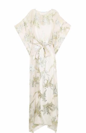 Шелковое платье с металлизированной вышивкой и поясом Oscar de la Renta. Цвет: золотой