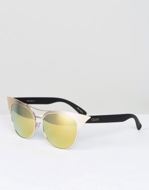 Quay Australia Солнцезащитные очки с планкой. Цвет: золотой