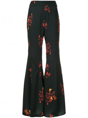 Расклешенные брюки с цветочным принтом Ellery. Цвет: чёрный