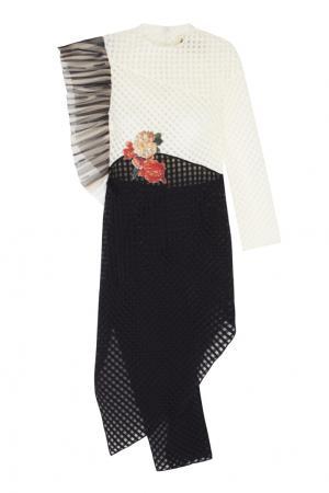 Хлопковое платье A.W.A.K.E.. Цвет: черный, белый