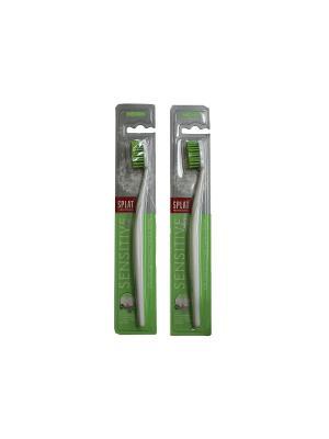 Splat  набор Sensitive Medium для чувствительных зубов (Зубные щетки 2шт белые с зеленой щетиной)*2. Цвет: прозрачный