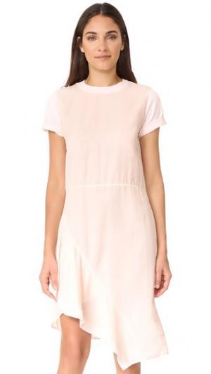 Платье с асимметричными вставками из комбинированных материалов Clu. Цвет: розовый