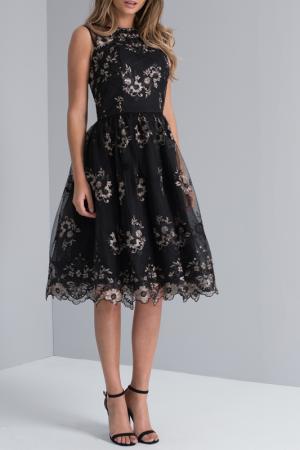 Платье CHI LONDON. Цвет: black, gold