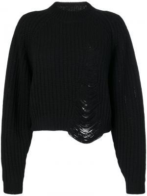 Рваный свитер Molly Designers Remix. Цвет: чёрный