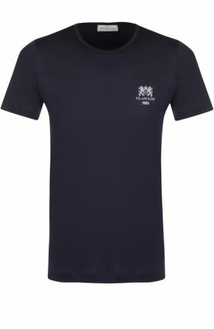 Хлопковая футболка с круглым вырезом Bilancioni. Цвет: темно-синий