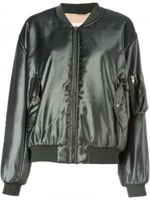 Атласная куртка-бомбер Ssheena. Цвет: зелёный