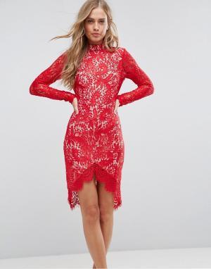Girl In Mind Кружевное облегающее платье с асимметричным краем Francis. Цвет: красный