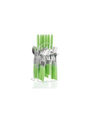 Набор столовых приборов на подставке Floret 24предмета Elff Ceramics. Цвет: зеленый