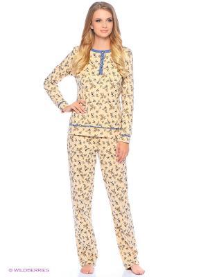 Комплект домашней одежды ( футболка, брюки) HomeLike. Цвет: бежевый, голубой