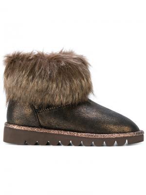 Зимние ботинки с меховой отделкой Twin-Set. Цвет: коричневый