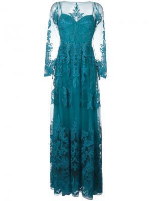 Вечернее платье с прозрачными деталями и драпировкой Zuhair Murad. Цвет: синий
