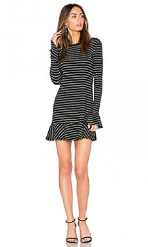 Платье с рюшами на рукавах tessa SAYLOR. Цвет: black & white