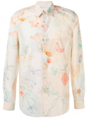 Рубашка с цветочным принтом Paul Smith. Цвет: телесный