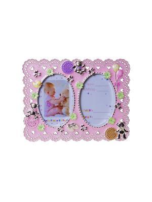 Фоторамка розовая детская металлическая со стразами на 2 фото 13х18см PLATINUM quality. Цвет: розовый
