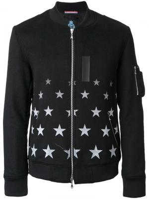 Куртка-бомбер с принтом звезд Guild Prime. Цвет: чёрный