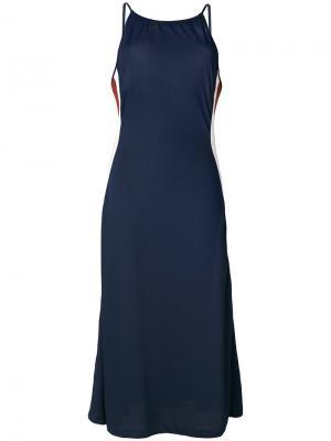 Длинное платье без рукавов Ganni. Цвет: синий